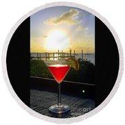 Martini At Sunset II Round Beach Towel