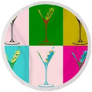 Martini Pop Art Panels Round Beach Towel