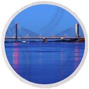 Martinus Nijhoff Bridge Over The Waal River Near Zaltbommel Round Beach Towel