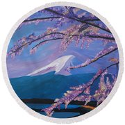 Marvellous Mount Fuji With Cherry Blossom In Japan Round Beach Towel