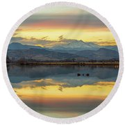 Marvelous Mccall Lake Reflections Round Beach Towel