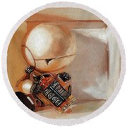 Marvin, Paranoid Android In A Box Round Beach Towel