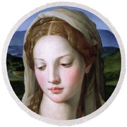 Mary Round Beach Towel by Agnolo Bronzino