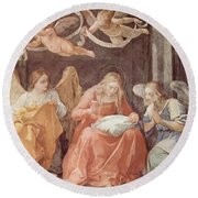 Mary And Angels 1611 Round Beach Towel