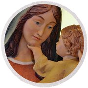 Mary And Baby Jesus Round Beach Towel