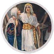Mary And Jesus Round Beach Towel