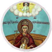 Mary And Jesus In Hebron Round Beach Towel