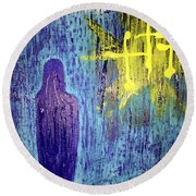 Mary And The Crosses Round Beach Towel