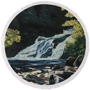 Mary Ann Falls On The Cabot Trail Round Beach Towel