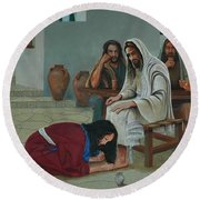 Mary Anoints The Feet Of Jesus Round Beach Towel