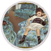 Mary Cassatt-little Girl In A Blue Armchair1878 Po Amp 059 Mary Cassatt Round Beach Towel