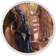Mary Magdalene At The Sepulchre Round Beach Towel