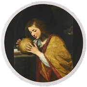 Mary Magdalene In Meditation  Round Beach Towel