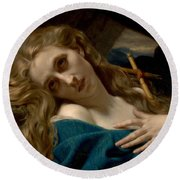 Mary Magdalene In The Cave Round Beach Towel