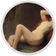 Mary Magdalene In The Cave Round Beach Towel by Jules Joseph Lefebvre