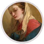 Mary Magdalene In Three-quarter View Veiled In A White Cloth Round Beach Towel