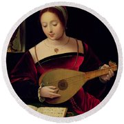 Mary Magdalene Playing The Lute Round Beach Towel