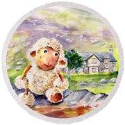 Mary The Scottish Sheep Round Beach Towel