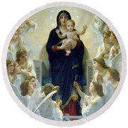 Mary With Angels Round Beach Towel