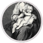 Mary With The Child Jesus Round Beach Towel