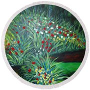 Maryann's Garden 3 Round Beach Towel