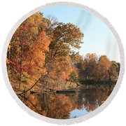 Maryland Autumns - Clopper Lake - Kingfisher Overlook Round Beach Towel