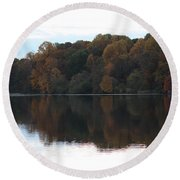 Maryland Autumns - Lake Elkhorn - Red Roof Round Beach Towel