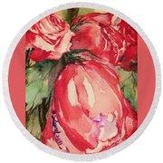 Ma's Roses 4 Round Beach Towel