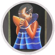 Masaai Kid Round Beach Towel