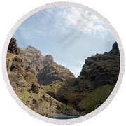 Masca Valley Entrance 2 Round Beach Towel