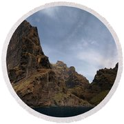 Masca Valley Entrance Panorama Round Beach Towel