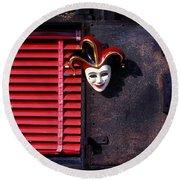 Mask By Window Round Beach Towel