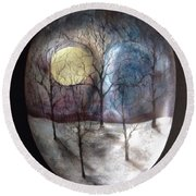 Mask Of The Moon Round Beach Towel