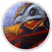Mask Of The Raven Round Beach Towel