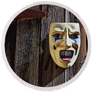 Mask On Barn Door Round Beach Towel