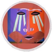 Mask With Streaming Eyes Round Beach Towel