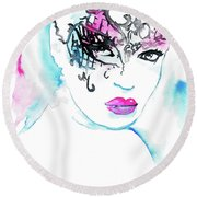 Masked Beauty Round Beach Towel