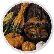 Masked Pumpkin Round Beach Towel