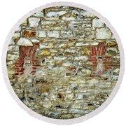 masonry Locked windows on the stone wall Round Beach Towel