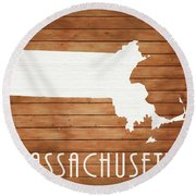 Massachusetts Rustic Map On Wood Round Beach Towel