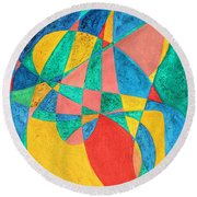 Massage In Abstract Word Art Round Beach Towel
