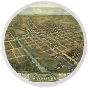 Massillon Ohio 1870 Round Beach Towel