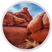Massive Boulders At Kodachrome Park Round Beach Towel