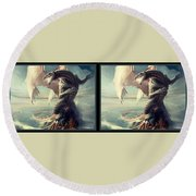 Massive Dragon - Gently Cross Your Eyes And Focus On The Middle Image Round Beach Towel