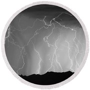 Massive Monsoon Lightning Storm Bw Round Beach Towel