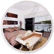 Master Bedroom With A View Round Beach Towel