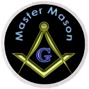 Master Mason In Black Round Beach Towel