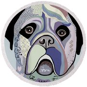 Mastiff In Denim Colors Round Beach Towel