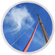Masts And Clouds Round Beach Towel