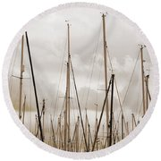 Masts In Sepia Round Beach Towel